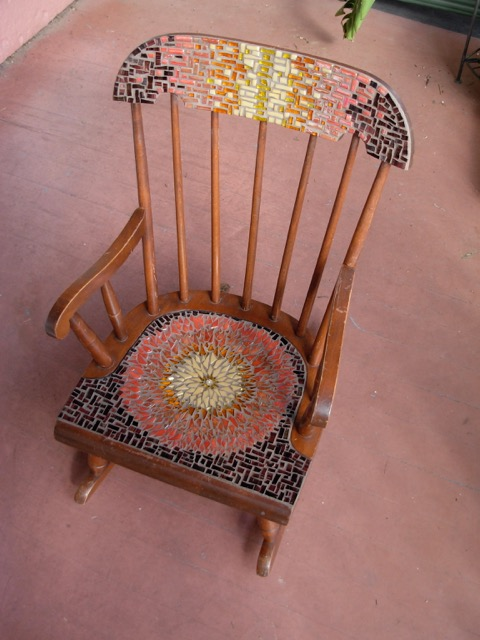 Mosaic Sunflower Mandala Rocking Chair by Margaret Almon