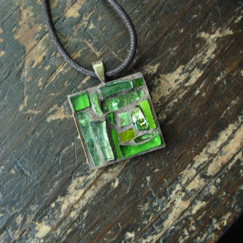 Peridot Green Mosaic Pendant for an August Birthday by Margaret Almon