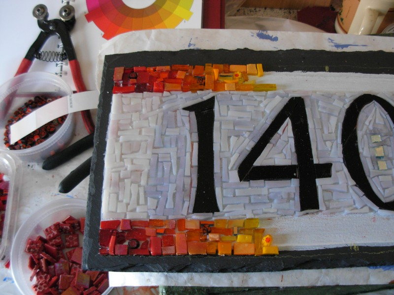 Rainbow House Number in Process, by Margaret Almon and Wayne Stratz