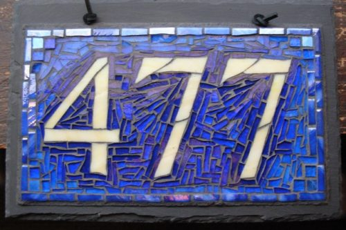 Nutmeg Designs Mosaic House Number in Blue
