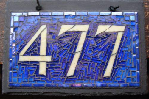 Nutmeg Designs Mosaic House Number in Blue