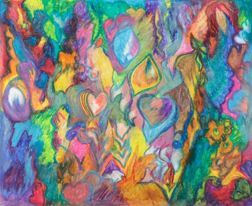 Offering of Color, Oil Pastel by Suzanne Halstead.