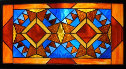 Bear Paw Quilt Stained Glass by Wayne Stratz