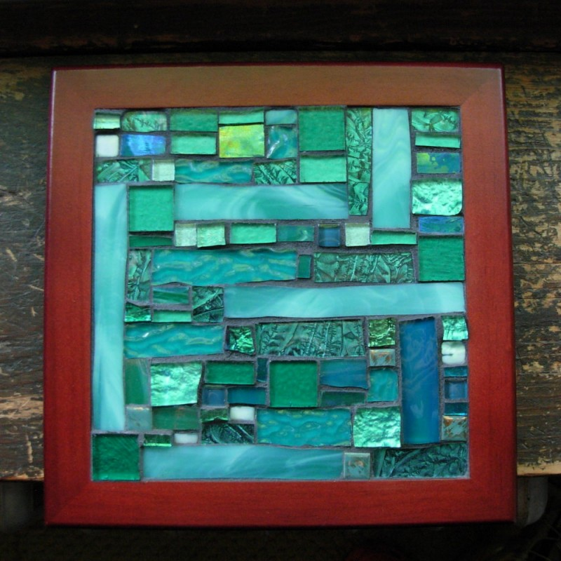 Teal Patchwork Mosaic by Margaret Almon