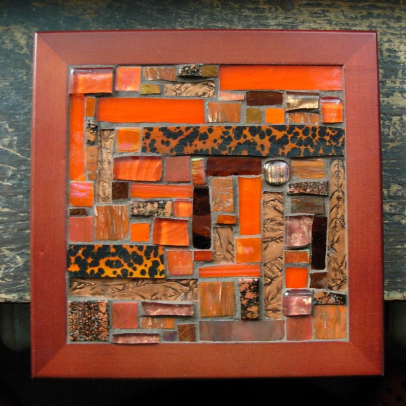 Orange and Copper Patchwork Tile by Margaret Almon