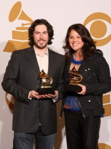 "Producers Jason Reitman (L) and Margaret Yen, winners of the Best Compilation Soundtrack Album For Motion for ""Juno"" pose in the press room during the 51st Annual Grammy Awards held at the Staples Center on February 8, 2009 in Los Angeles, California. (Photo by Jason Merritt/Getty Images)"