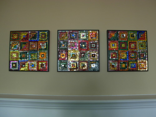 Log Cabin Mosaic Triptych by Margaret Almon