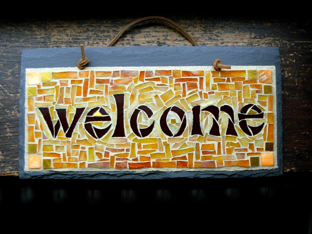 Welcome Yellow Orange by Nutmeg Designs.