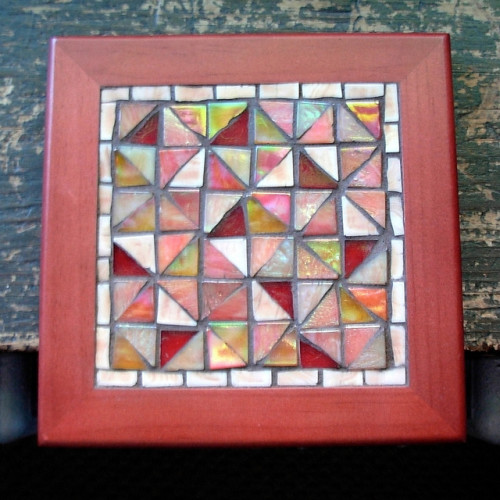 Broken Dishes Quilt Pattern Mosaic Trivet by Margaret Almon.
