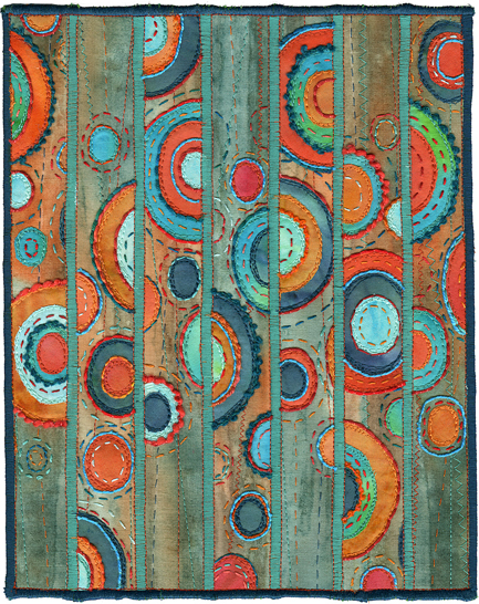 "Kirsten Chursinoff, Patina 2008, textile, thread, 21"" X 17"" framed"