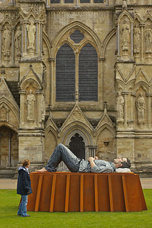 Catafalque (2003) Sean Henry bronze sculpture at Salisbury Cathedral 208 x 394 x 194 cm