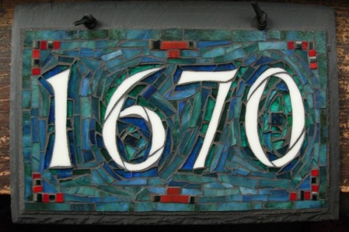 Blue Green House Number by Nutmeg Designs