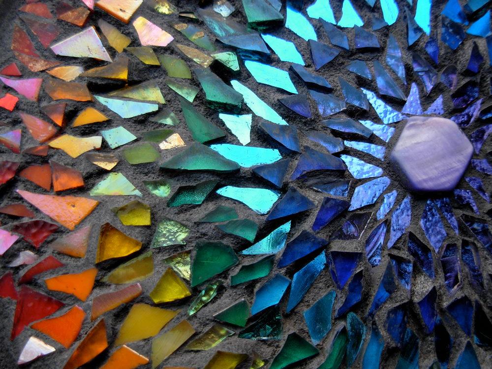 Rainbow Mandala Mosaic by Margaret Almon 1000x750
