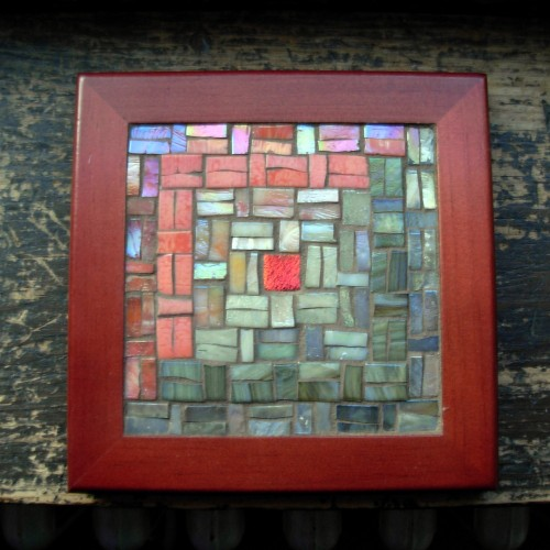 Log Cabin Quilt Trivet in Coral and Cream by Margaret Almon.
