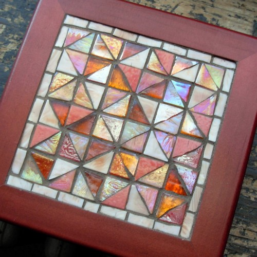 Broken Dishes Quilt Pattern in Glass Mosaic by Margaret Almon