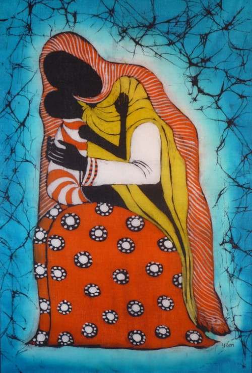 Madonna and Child, by Filex Msalu(2006), Batik, photo by Johan van Parys.