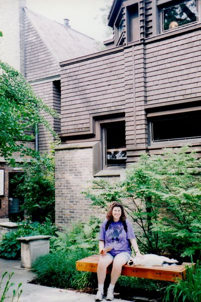 Friendly cat at the Frank Lloyd Wright Home and Studio, Oak Park, IL. 1995. Photo by Wayne Stratz.