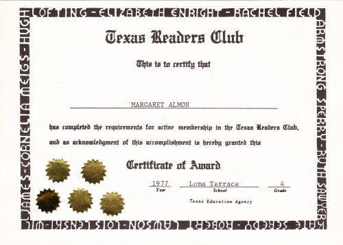 Texas Readers Club. 1977.