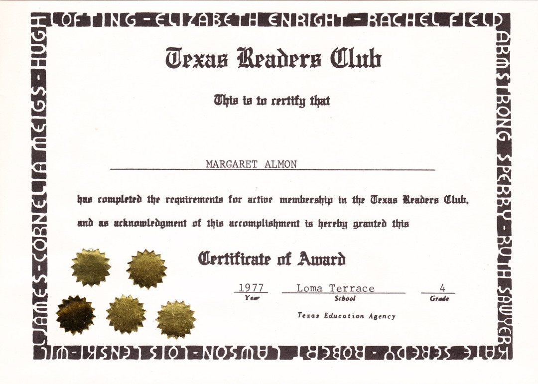 Texas Readers Club. 1977.