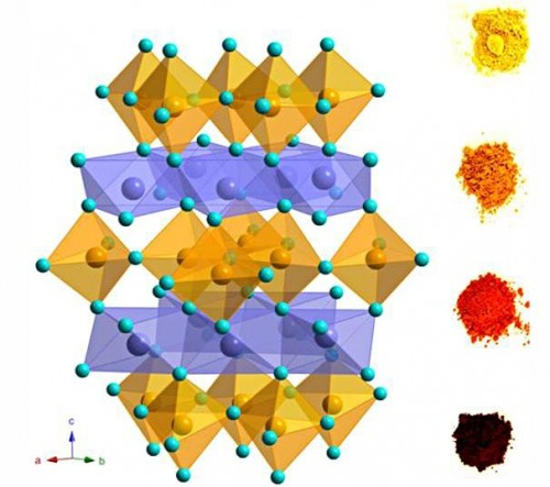 "The unusual ""trigonal bipyramidal"" crystalline structure seen here is being used by researchers at Oregon State University to create a range of new pigments with properties of safety and stability that should have important applications in the paint and pigment industries. (Graphic courtesy of Oregon State University)"