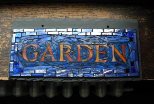 Garden Sign in Orange and Blue