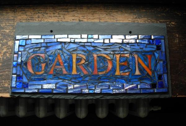 Garden Sign in Orange and Blue