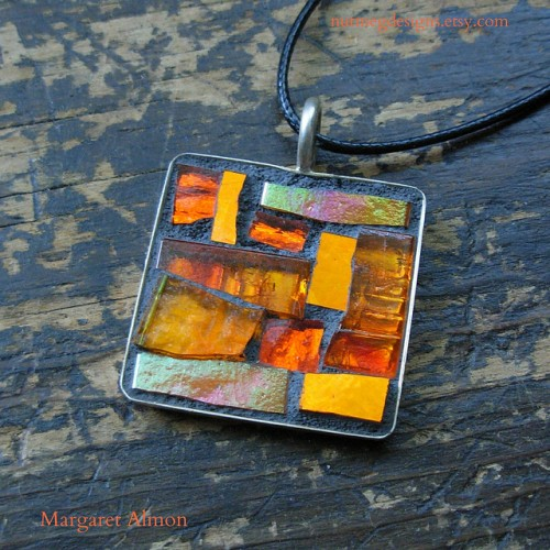 Orange Mosaic Pendant by Margaret Almon