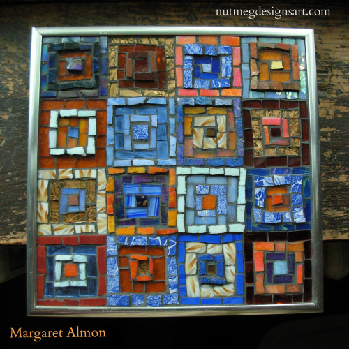 Around the Square by Margaret Almon. Glass, china, mirror, smalti on wood, 8 inch.
