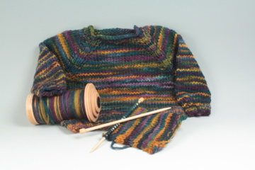sweater hand spun and hand knit from space dyed yarn