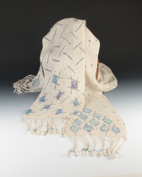 Rayon scarves with painted warp, tapestry inlay and beaded fringe by Amy Turner.