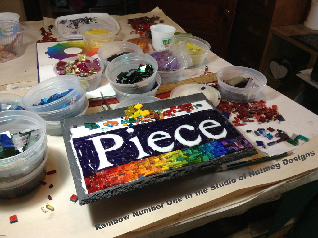 Rainbow Piece Sign for a Quilter by Nutmeg Designs