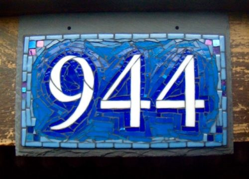 Nutmeg Designs House Number in Blue and White