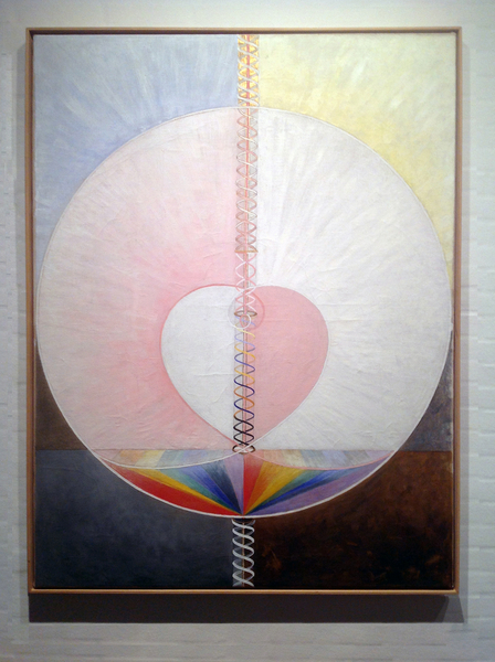 Hilma af Klint: Group IX/UW, No. 25, The Dove, No. 1, 1915, 151 × 114.5 cm, Oil on canvas. Foto: Henrik Grundsted. Courtesy: Stiftelsen Hilma af Klints Verk.