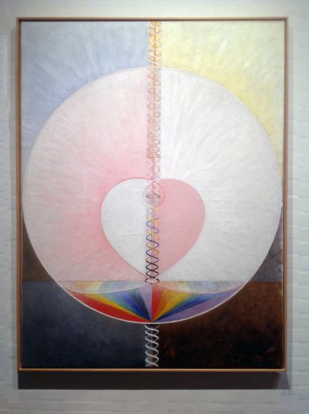 Hilma af Klint: Group IX/UW, No. 25, The Dove, No. 1, 1915, 151 × 114.5 cm, Oil on canvas. Foto: Henrik Grundsted. Courtesy: Stiftelsen Hilma af Klints Verk.