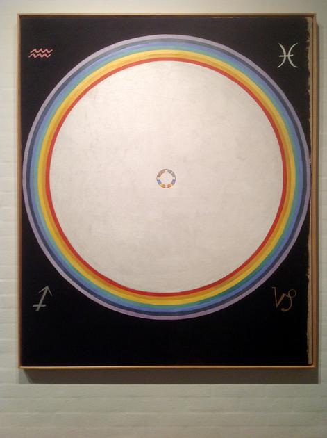 Hilma af Klint: Group IX/UW, No. 38, The Dove, No. 14, 1915, 154 × 128.5 cm, Oil on canvas. Foto: Henrik Grundsted. Courtesy: Stiftelsen Hilma af Klints Verk.