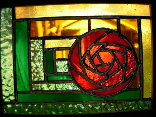 Mackintosh Rose Log Cabin Stained Glass by Wayne Stratz.