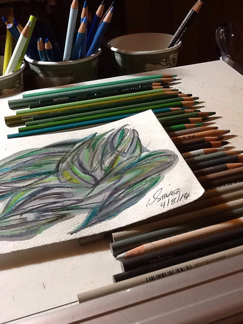 Stratoz doodling to Benny Green with gray and green Prismacolors.