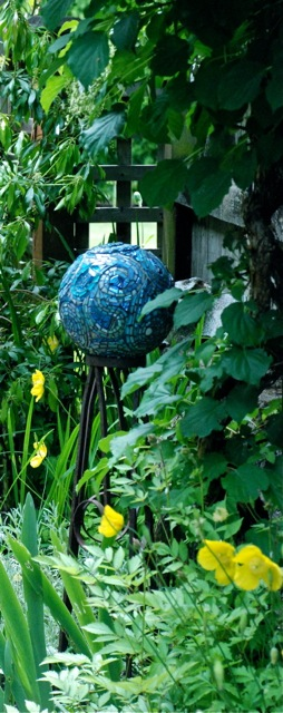 Blue Skies Mosaic Gazing Ball by Margaret Almon.