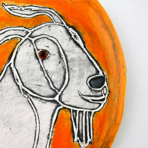 Orange Graphic Oval Goat Tile by Hadley Clay