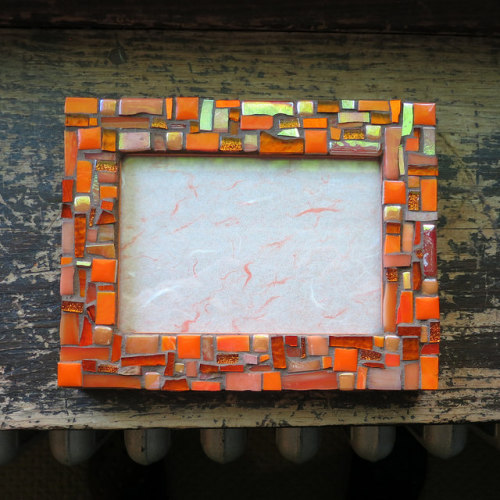 Opulent Orange Mosaic Frame by Margaret Almon