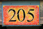 House Number 205 in Yellow and Orange by Nutmeg Designs