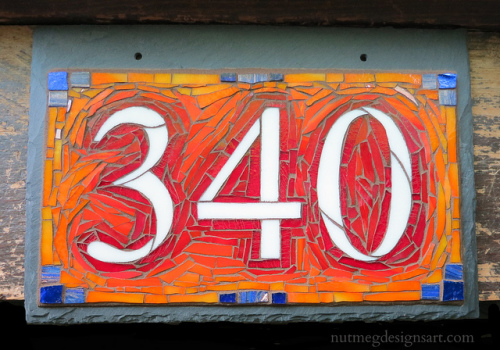 House Number 340 in Red Orange with Blue Accents by Nutmeg Designs