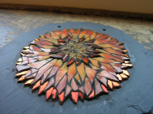 Sunflower Mandala Mosaic by Margaret Almon and the Grout Monster