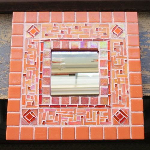 Tangerine Orange Mosaic Mirror by Margaret Almon