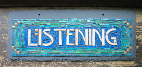 Listening by Nutmeg Designs. Glass on slate, 6x15 inches.