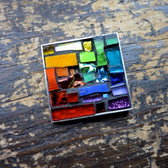 Rainbow Brooch by Margaret Almon. Glass mosaic and silver overlay, 1.4 inch.