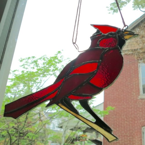 Male Cardinal Suncatcher by Wayne Stratz.