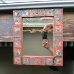 Log Cabin Quilt Mosaic MIrror by Margaret Almon.