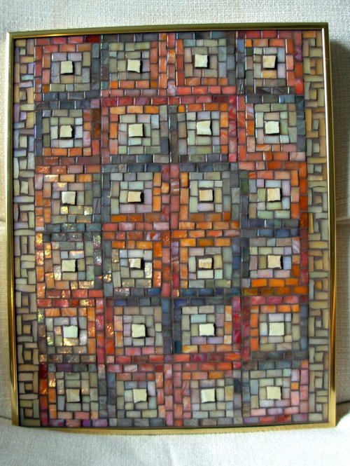 Log Cabin Quilt Mosaic Panel by Margaret Almon.