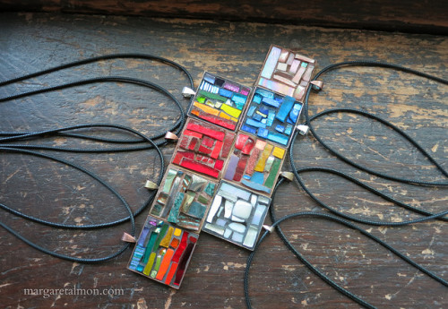 Summer Crop of Mosaic Pendants by Margaret Almon. Glass, ceramic, dichroic, mirror, gold smalti, 1 inch square, ©2015
